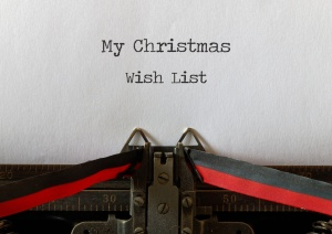My Christmas Wish List on an old typewriter