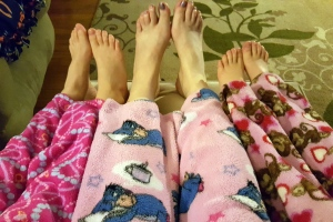 The girls and I having a pink pajama pants party.